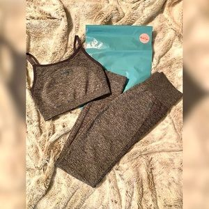 Gymshark Flex charcoal marl/teal set